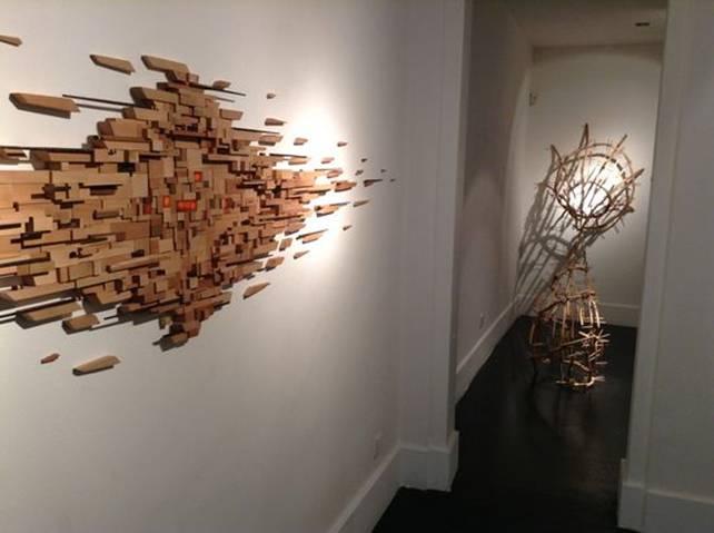 Campos en expansi n del artista chileno ignacio bahna en galer a aranapoveda madrid - Murales de madera ...