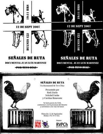 """Flyer de invitación a presentación de """"Señales de Ruta"""" en Librería Gonzalo Rojas, editorial FCE, Santiago de Chile, 12 de septiembre de 2007."""