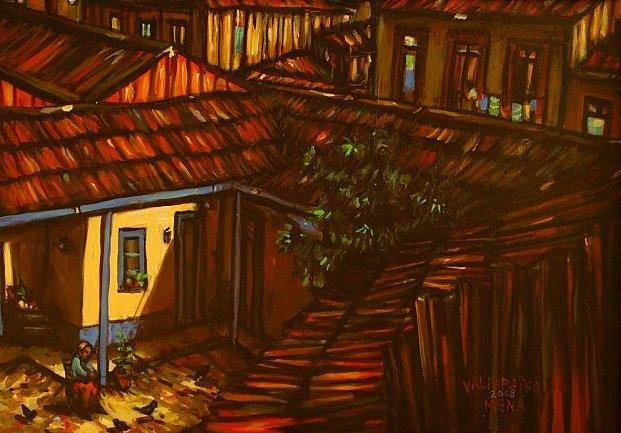 Abuelita tomando sol. Óleo sobre tela. Eduardo Mena, artista porteño.