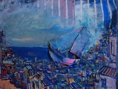 Camisa Azul. Técnica Mixta. Gonzalo Etcheto, artista porteño.