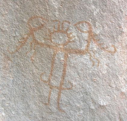 El Señor de los Báculo, pictoglifo. Sector río Loa, desierto de Atacama, Chile.