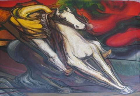 "Detalle de mural ""Del Porfirismo a la Revolución"". Artista David Alfaro Siqueiros. Mural en Museo Nacional de Historia Castillo de Chapultepec. Foto: Ximena Jordán."
