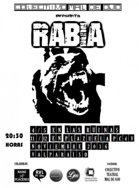 Afiche de Rabia, de Colectivo Teatral Mal de Ojo (2016)